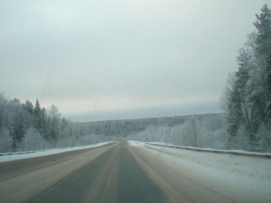 вид на федеральную трассу в северных широтах