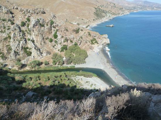 сверху вид на пляж Превели, река впадает в море. по берегам растут пальмы