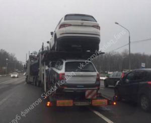 В Россию на автовозах доставляют Skoda Kodiaq